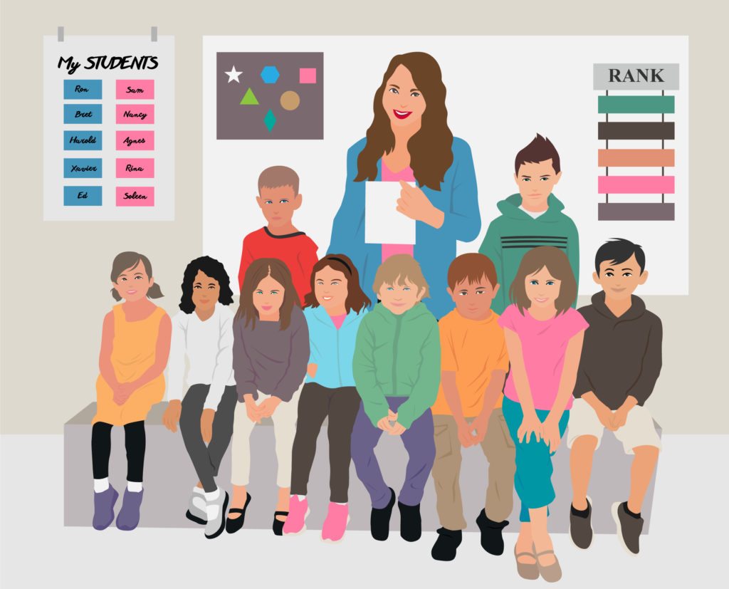 class photo graphic of first-graders and a teacher
