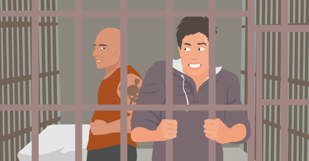 graphic of a scared man in jail
