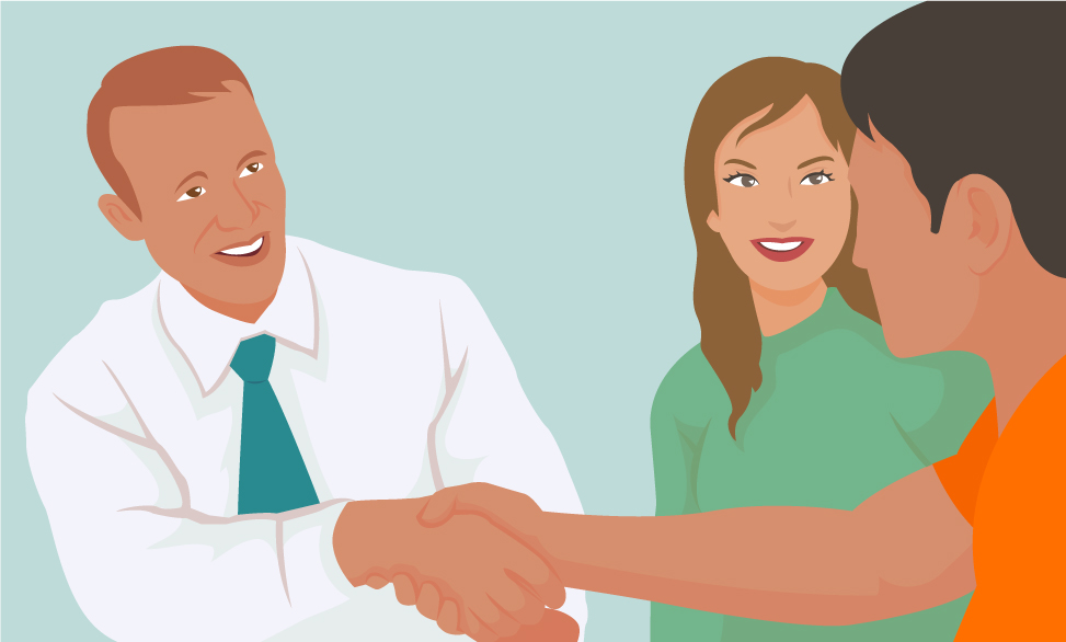 graphic of an inmate shaking hands with a lawyer