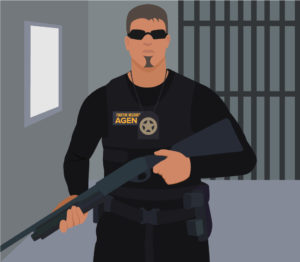 portrait graphic of a fugitive recovery agent with a gun