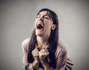 desperate woman shouting