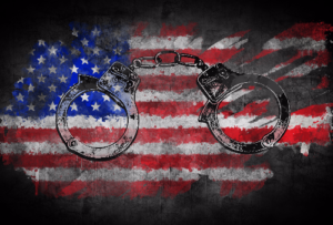 handcuffs and flag of the united states