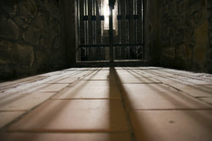prison cell entrance at night
